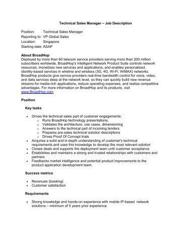Job Description – National Sales Manager - Ikan