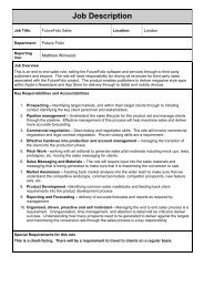 Job Description Digital Sales Manager - FutureFolio - Your Future Job