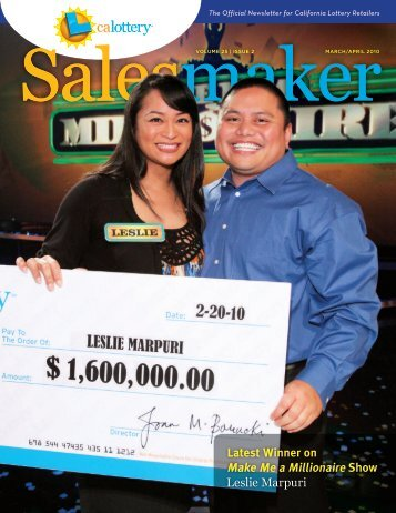March/April 2010 Salesmaker - CA Lottery Home - California Lottery