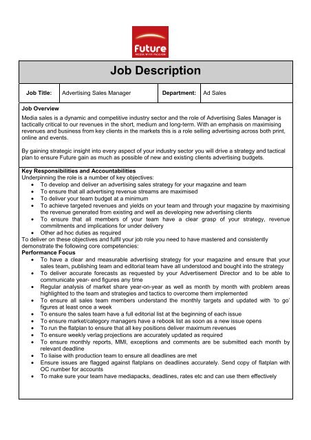 Advertising key account manager job description