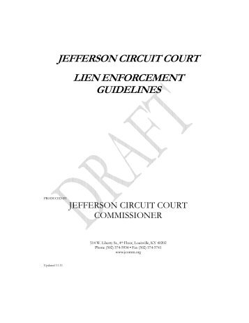 jefferson circuit court lien enforcement guidelines - Jefferson County ...
