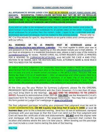 Residential Mortgage Foreclosure Procedures - 19th Judicial Circuit ...