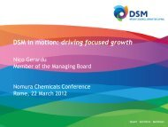 DSM in motion: driving focused growth - Nomura