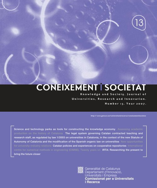 Coneixement i Societat núm. 13. year 2007 - Generalitat de Catalunya