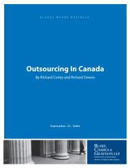 Outsourcing In Canada - Blakes, Cassels and Graydon LLP