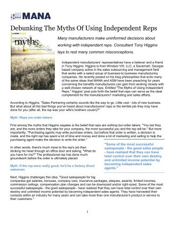 Debunking The Myths Of Using Independent Reps - Intelligently
