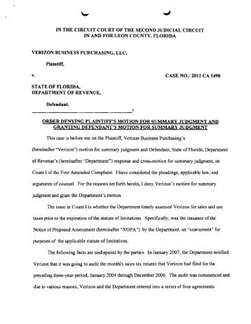download a copy of the motion denying verizon's - Florida Sales Tax ...