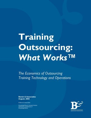 Economics of Training Outsourcing - CEdMA