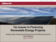 Tax Issues in Financing Renewable Energy Projects - EERE