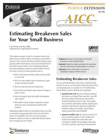 Estimating Breakeven Sales - Purdue Extension - Purdue University