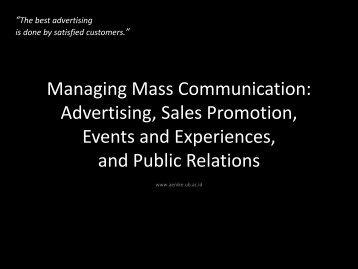 Managing Mass Communication: Advertising, Sales Promotion ...