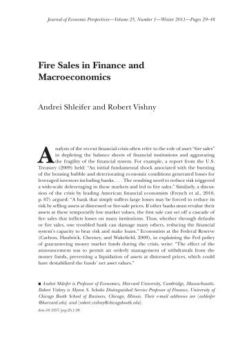 Fire Sales in Finance and Macroeconomics - Department of ...