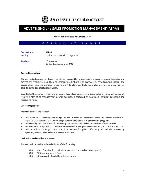 Advertising And Sales Promotion Management Aspm