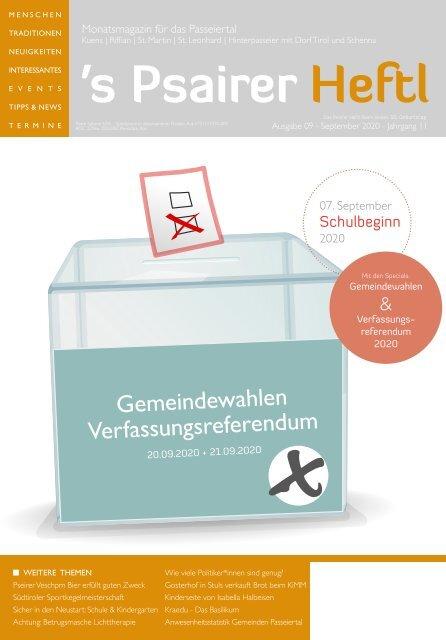 September Ausgabe 2020  s'Psairer Heftl - Monatsmagazin für das Passeiertal
