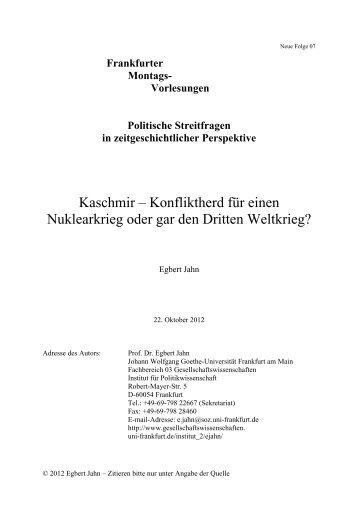 Frankfurter Montags- Vorlesungen Politische Streitfragen in ... - FKKS