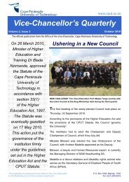 Vice-Chancellor's Quarterly October 2010 - Cape Peninsula ...