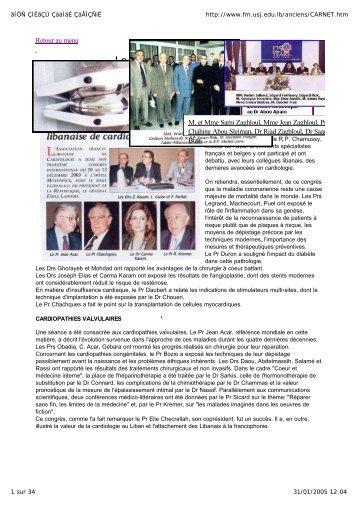 Archives du carnet - [USJ] - Faculté de médecine - Université Saint ...