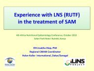 Experience with LNS (RUTF) in the treatment of SAM