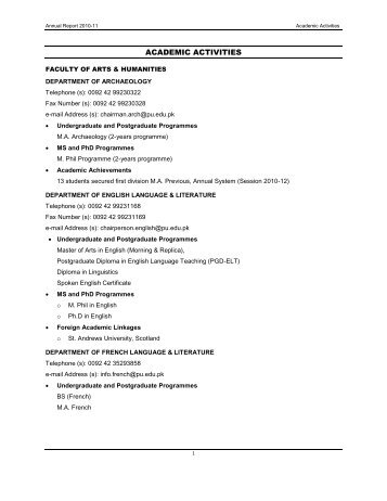 Academic Activities - University of the Punjab