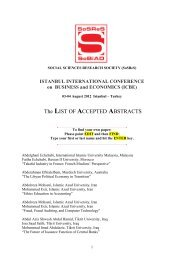 The LIST OF ACCEPTED ABSTRACTS - istanbul international ...