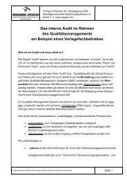 Das interne Audit im Rahmen des Qualitätsmanagements