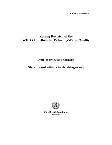 Rolling Revision of the WHO Guidelines for Drinking-Water Quality ...