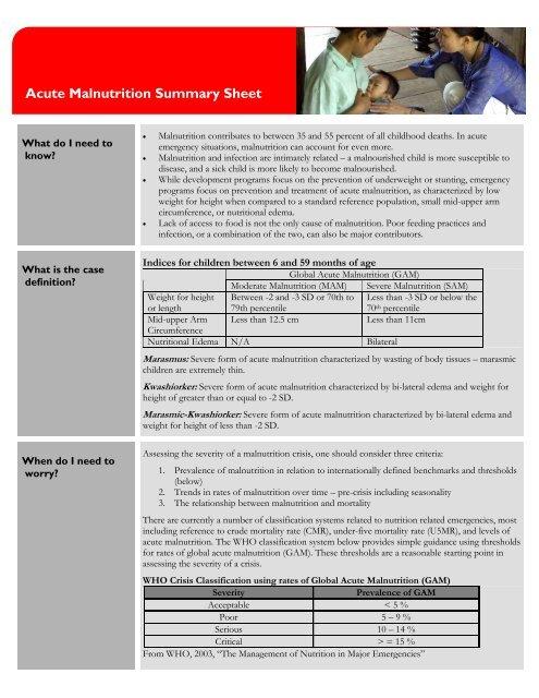 Acute Malnutrition Summary Sheet Pdf Save The Children