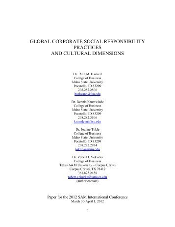 global corporate social responsibility practices and cultural ...