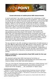 Conservativeness of mobile phone SAR measurements A recent ...