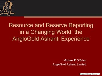 Resource and Reserve Reporting in a Changing World - SAMCODE