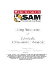 Using Resources in Scholastic Achievement Manager