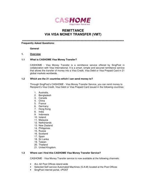 Wire Transfer To Prepaid Card   Remittance Via Visa Money Transfer Vmt Singapore Post