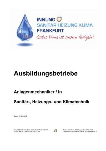 Ausbildungsbetriebe - Sanitär Heizung Klima-Innung