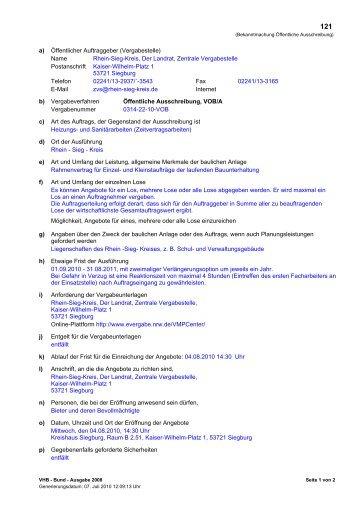 a) Öffentlicher Auftraggeber (Vergabestelle) Name Rhein-Sieg-Kreis ...