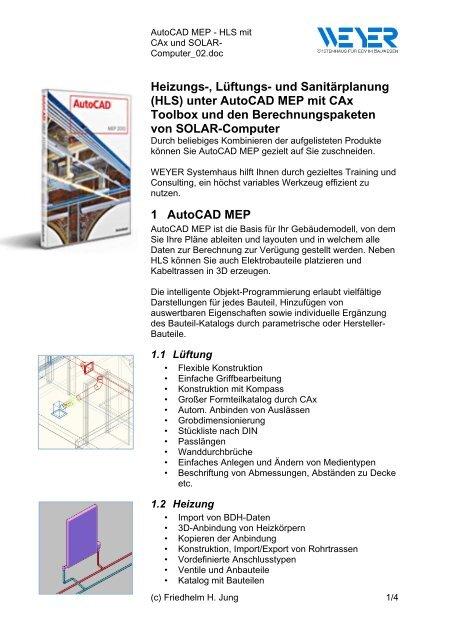 HLS) unter AutoCAD MEP mit CAx Toolbox und den