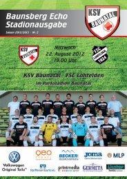 """""""Baunsberg Echo"""" Ausgabe 2 vom 22.8.2012 - KSV Baunatal"""