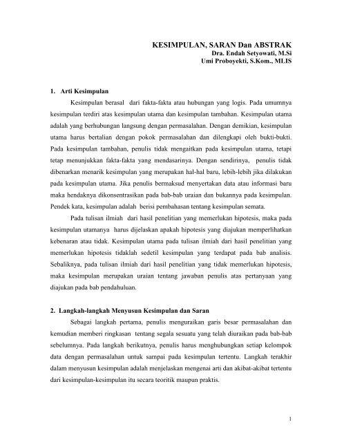 Kesimpulan Saran Dan Abstrak Lecturer