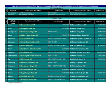 List of Public Information Officer & Asstt. Information Officers ...