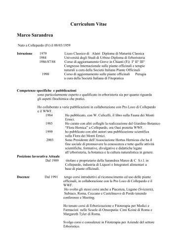 Curriculum Vitae Marco Sarandrea - accademia delle arti erboristiche