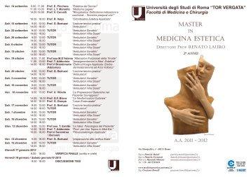Anno Accademico 2011/2012 - Medicina Estetica Università di ...