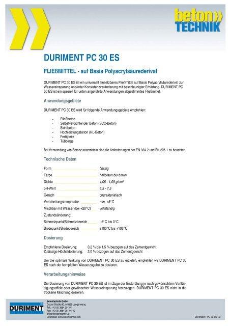 DURIMENT PC 30 ES FLIEßMITTEL - auf Basis ... - Betontechnik