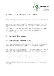 Sarsarale e.V. Newsletter Juli 2012 1: News aus dem Garten: