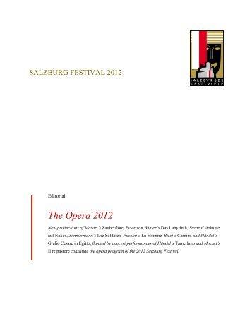 The Opera 2012 - Salzburger Festspiele