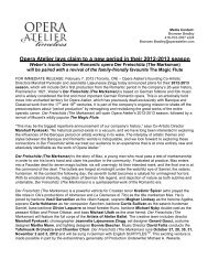Opera Atelier lays claim to a new period in their 2012-2013 season
