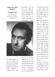 Sänger des Jahr- hunderts Gottlob Frick - Gottlob-Frick-Gesellschaft
