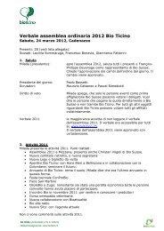 Verbale assemblea ordinaria 2012 Bio Ticino - Bio Suisse