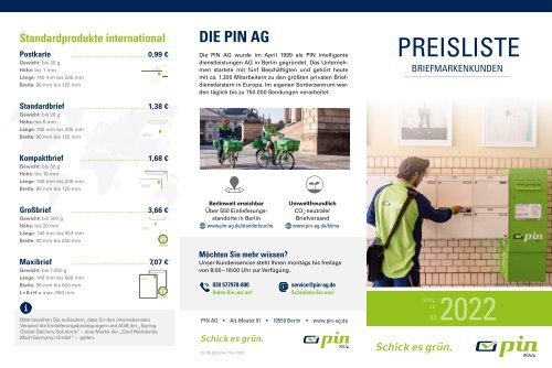 PIN AG - Preisliste Briefmarkenkunden