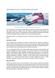 NEW OFFER 2012-2013 : HOTEL SKI PASS INCLUDED