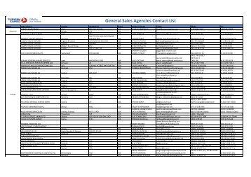 General Sales Agencies Contact List