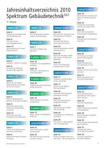 Jahresinhaltsverzeichnis SGT 2010 (PDF) - Robe Verlag AG